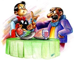 Angry Gramps and Waiter by Abstraq