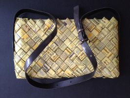 Purse with handle, yellow pages 09 by SecondChanceCrafts