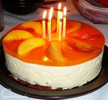 Peach and Orange Mousse Cake by cakecrumbs