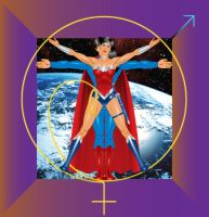 Vitruvian Superman and Wonder Woman by godstaff