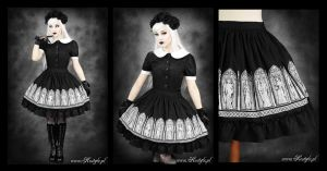 Gothic Windows Skirt midi by Euflonica