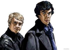 Dr. Watson and Sherlock Holmes by NamesroH