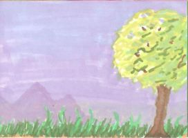 Tree and mountain by Kippur