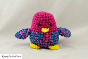 Chirping Bird - Pink and Turquoise 1 by karenscrochetcorner