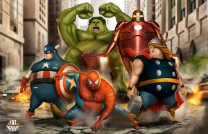 FAT HEROES  (Spidey and The Avengers) by CarlosDattoliArt