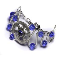 Steampunk Bracelet Blue Gear by CatherinetteRings