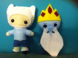 Finn + Ice King Plushies by Xiao-Yang
