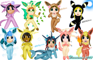 Chibi Eevees by DannimonDesigns