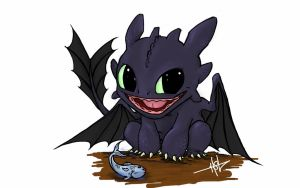 Toothless Chibi Toothless by Creeeeeees