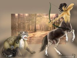 The Centaur and the cat by Asenceana