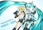 Miku and Rin by Puretails