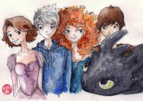 The Big Four and one curious dragon by Dreamsoffools