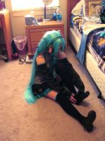 Hatsune Miku Cosplay #1 - Getting Ready by watermelemon