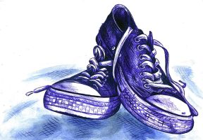 Ballpoint pen vs. Chucks. by chris2222