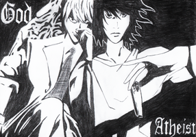Light Yagami and  L Lawliet - Death Note by mirror-de