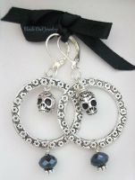 Skull and crystal earrings by IdolRebel