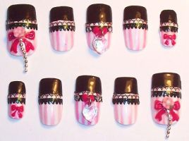 Lolita striped Nails by The-Lady-of-Kuo