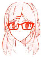 Quick sketch -Girl with glasses by BanabaBBQ
