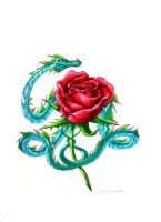 Two Tailed Rose Dragon by creativegoth18
