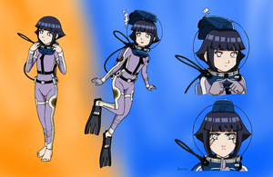 Hinata Hyuga Scuba Concept Sheet - Color Version by BlueHedgehog25