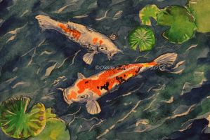 Watercolor and Ink #8 -  Koi Couple by Oksana007