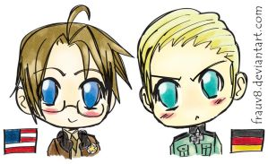 APH - Chibi America + Germany by FrauV8