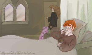 Hermione visiting Ron by periwinkle-blue