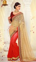 Red-and-Cream-Faux-Georgette-Net-Half-N-Half-Saree by ethniclover