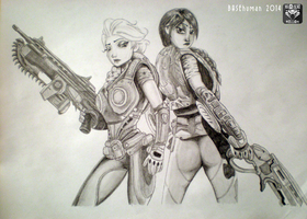 Anna and Elsa as Gears of War characters by BASEhuman