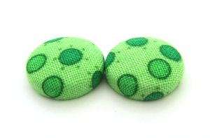 Green button earrings studs bright funky by KooKooCraft