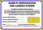 Toadlover's Quest Game-Fi Certificate by LevelInfinitum