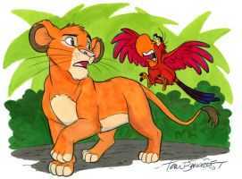 Iago and Young Simba by tombancroft