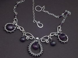 Amethyst Sterling Wire Necklac by WiredElements