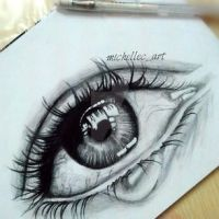 Realistic Crying Eyes Drawing ( Quick Drawing ) by MichelleCArt