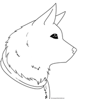 free scarf wolf lineart by snowpups123