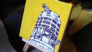 Mini Dalek watercolor on canvas by merchantofgallifrey