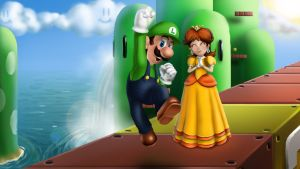 Luigi gets the Girl! by iamherecozidraw