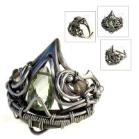 Zaphira - silver ring with green amethyst by litori