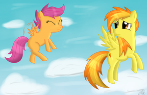 Spitfire and Scootaloo by wildberry-poptart
