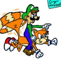 Tails and luigi by spongefox