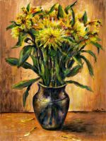 Vase with yellow flowers by LilioTheOne
