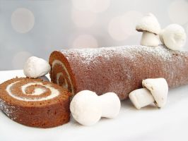 Chocolate and Mascarpone Yule Log by maytel