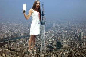 Giantess Jessica Chobot in Japan by ilikemercs
