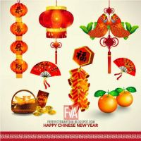 Happy Chinese New Year Decoration Set vector by greenwind007