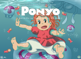 Ponyo- Riding the Jellies 2 by DEugenio