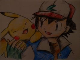 pikachu and Ash request by Poochyarn