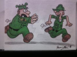 BEETLE BAILEY AND SARGE SKETCH CARD by shawncomicart