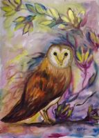 Watercoloured owl by monicav