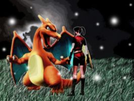Claire and Charizard by Aletheiia90