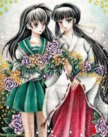 Kagome and Kikyo by chicharrria